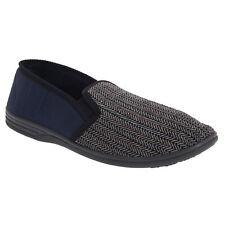 Zedzzz Mens Charles Herringbone Felt Gusset Slippers (DF812)