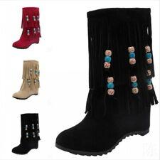 Women's Boho Suede Fabric Tassel Ankle Boots Beaded Hidden Wedge Heels Plus Size