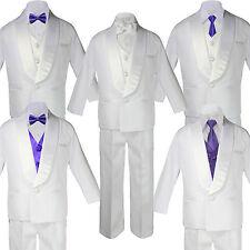 Boy Kid White Shawl Lapel Party Suits Tuxedo PURPLE Satin Bow Necktie Vest SM-20