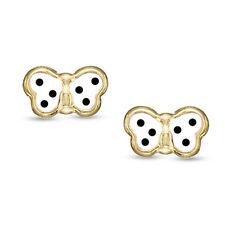 Baby/Children's 14K Yellow Gold Screw-Back Butterfly Earrings Enamel White Black