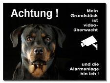 Rottweiler-Hund-Alu-Schild-15x10 bis 30 x 20 cm-Türschild-Alarm-Warnschild-Video