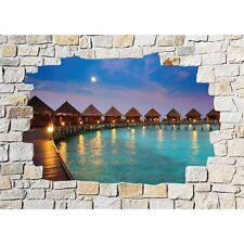 Stickers mural trompe l'oeil pierre déco Maldives 8524
