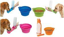 Dog Travel Set Portable Handi Drink Water Bottle & Food Bowl - Choose Color