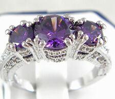 Charm 925 Silver Amethyst Three Stone Wedding Ring Engagement Jewelry Size 6-10