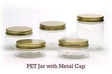 Empty PET Plastic Jars - Clear Jars and GOLD Metal Screw Caps Lids 50ml-500ml