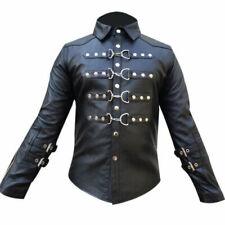 Mens Real Black Sheep Leather Buckle Uniform Shirt