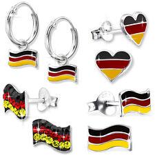 925 er Silber Ohrstecker Ohrringe Creolen Deutschland Flagge Fahne Damen Kinder