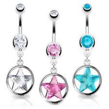 Shining Star Circle Cz Gem Dangle Belly Ring Navel Naval Clear, Pink, Aqua