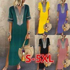 Womens Summer Split Maxi Dress Deep V-neck Short Sleeve Casual Kaftan  Dresses d202c32b315c