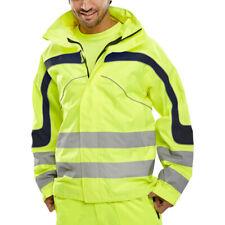 Eton transpirable Visibilidad Impermeable Chaqueta Hombre Amarillo EN ISO 20471