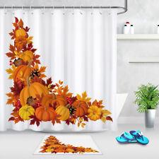 Autumn Pumpkin Maple Leaves Thanksgiving Day Theme Shower Curtain Hooks Bath Mat