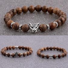 Fashion 8mm Wood Beads King Crown Energy Yoga Reiki Men's Bracelets Charm Gift