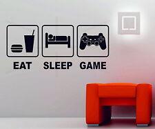 Eat Sleep Game Playstation Xbox Wii Decor Art Vinyl Wall Sticker PS4 Console