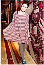 Damen kleid Bluse Tunika Streifen Rot-Weiß Schwarz-Weiß Gestreift Tops Q5301