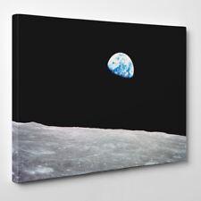La terra Rising - Con cornice Tela Stampa D'arte - luna spazio universe