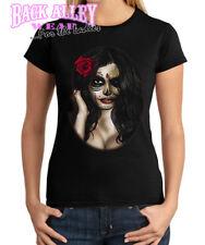 Ladies SUGAR GIRL SKULL ~ JUNIORS T-Shirt Tee ~ Dia De Muertes Roses