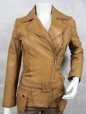 Ladies Tan Napa Leather Stud Zip Slim Tight Fitted Biker Jacket Bike