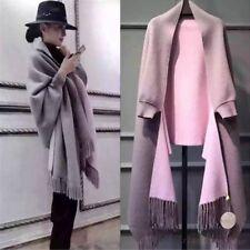 Cashmere Wool Cardigan Coat Cloak Cape Womens Long Sleeve Jacket Tassel Outwear