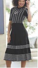 Ashro Black White Slimming Winter Warm Jeanne Sweater Dress S M L XL 1X 2X 3X