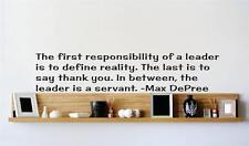 "Max DePree Leadership Quote | Inspirational Vinyl Wall Decal | 22""x7"" [Q235]"