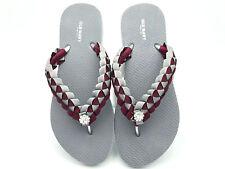 NMSU Aggies inspired Custom Flip Flops - Silver Flip Flops - Crimson and Grey