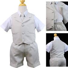 Light Khaki Infant Boy Toddler Formal Lapel Vest Shorts Sets Suit New born to 4T