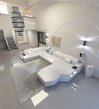 Leder Sofa Couch PRESTO U Design Wohnlandschaft weiss LED Beleuchtung + Ottomane