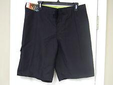 Mens Hang Ten Black Swin Trunks/Bathing Suit Shorts 10 1/2 inseam