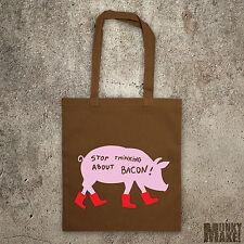 STOP Thinking About BACON Bolsa Protest Animal Derechos VEGANO Vegetariano