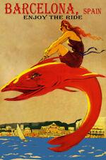 ENJOY THE RIDE BARCELONA SPAIN BEACH GIRL RIDING FISH TRAVEL VINTAGE POSTER REPO