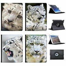 Snow Leopard Wild Cat Folio Cover Leather Case For Apple iPad