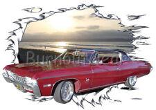 1968 Red Chevy Impala Custom Hot Rod Sun Set T-Shirt 68 Muscle Car Tee