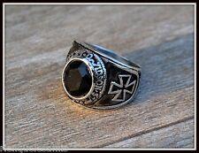 Bague Chevalière Croix de Malte & Black ~ Taille 8 à 13 ( punk gothique biker )