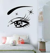 Vinyl Wall Decal Beautiful Sexy Woman Eye Eyelashes Makeup Stickers (1415ig)