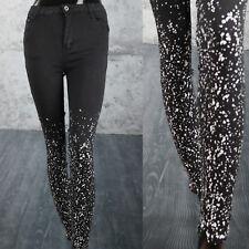 Jeans Donna Nero con stampa schizzi di Vernice Aderenti Sexy Pantaloni motivo