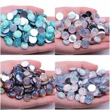 12mm Round Starry Sky Flat Back Resin Crystal Rhinestones Beads Applique 100pcs