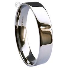 5mm 950 Platinum Flat Court  UK Hallmarked 10.4-12.7g Comfort Wedding Band Ring
