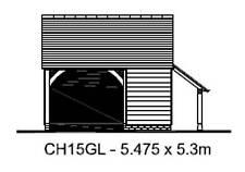 CHI5GL Traditional Oak Framed Garage Building/Cart Lodge Kit - 1.5-Bay/Log Store