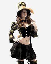 Women's Deluxe Ladies Black Gold Tea Party Fancy Dress Costume