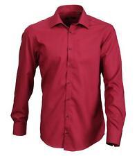 Venti Camisa Bordeaux Rojo Liso Manga Larga Ajustado Entallado Cuello KENT