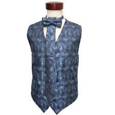 Men's blue color paisley pattern vest set