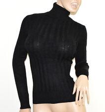 MAGLIONE NERO collo alto donna manica lunga maglietta dolcevita pullover G2