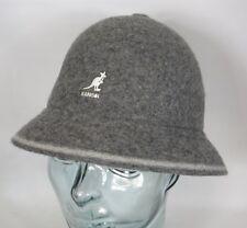 KANGOL rayures décontracté chapeau chapeau en cloche BOBBY Gris Bonnet NEUF