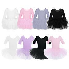 Girls Ballet Dance Dress Sleeved Leotard Tutu Layered Skirt Dancewear Costumes