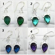 Pear Shape Onyx Hydro Quartz Gemstone Silver Plated Drop Dangle Earring Jewelry