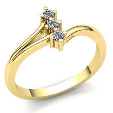 3-Stone Wedding Band 18K Gold 0.75carat Round Cut Diamond Ladies Bypass