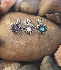 Opal Swirl Flower Helix Barbell Labret Studs Lip Monroe Tragus6mm Bar