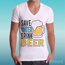 Camiseta de hombre Cuello V Save Agua Bebida Beer Cerveza Idea De Regalo