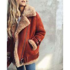 Women Suede Wool Coat Winter Faux Fur Motorcycle Bike Jacket Casual Warm Outwear