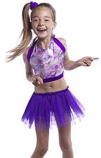 Les filles Sparkle crop top / net tutu jupe. jazz, disco dance show Costume Âge 4 à 9.
